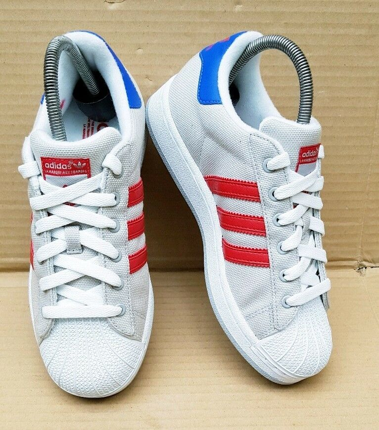 RARE ADIDAS SUPERSTAR GREY CANVAS & WHITE TRAINERS SIZE 4 UK WORN ONCE RED blueE