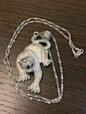 Signed 1 of Kind STERLING SILVER  3-D  TIGER/ LION PENDANT Necklace Set