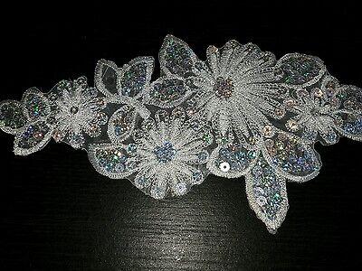 White flower sequin embroidery patch lace applique motif dress dance costume