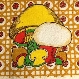 NEW Vintage Mushroom Kitchen Towel Flower Rattan Wicker New With Tag