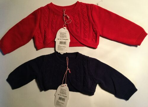 Baby Girl Mothercare Crop Cardigan in Navy or Red with Cable detail