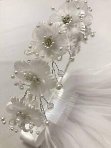 Rhinestone-Flowers-Communion-Headband-With-Veil-Wedding-Bridal-Birthday-Tiara