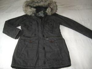 khujo Damen Safitha Parka Winter Jacke dunkel grau Gr. 40 XL neuwertig