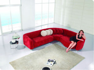 Image Is Loading Modern L Shape Red Sectional Sofa Chaise Set