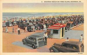 SAVANNAH-GA-Georgia-CARS-amp-SHACK-On-BEACH-TYBEE-ISLAND-c1940-039-s-Linen-Postcard