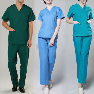 Medical-Scrubs-Set-Men-Women-Nursing-Uniform-Hospital-Workwear-Working-Clothes