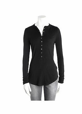 NEW Zadig & Voltaire Women's TROPHY ANGORA LONG SLEEVES BLACK T-SHIRTSWEATER XS