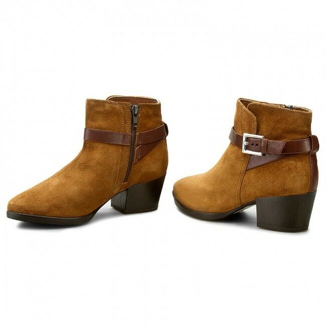 NEW CLARKS Christabel Eva Tan Suede Ankle Boots - UK size 7.5D