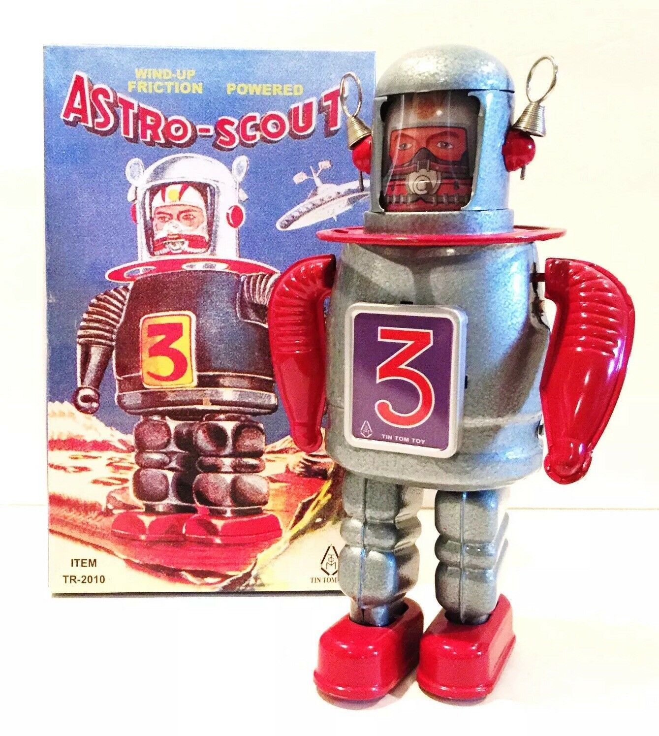 TIN TOM TOY ASTRO-SCOUT WIND UP FRICTION POWErosso TIN ROBOT ITEM TR-2010 MINT