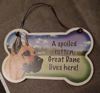 Small Dog Bone Shaped Wooden Plaque Spoiled Rotten Chow Chow Made in USA