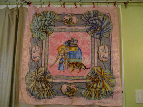 Womens silk pink scarf w/elephants, made in Italy,