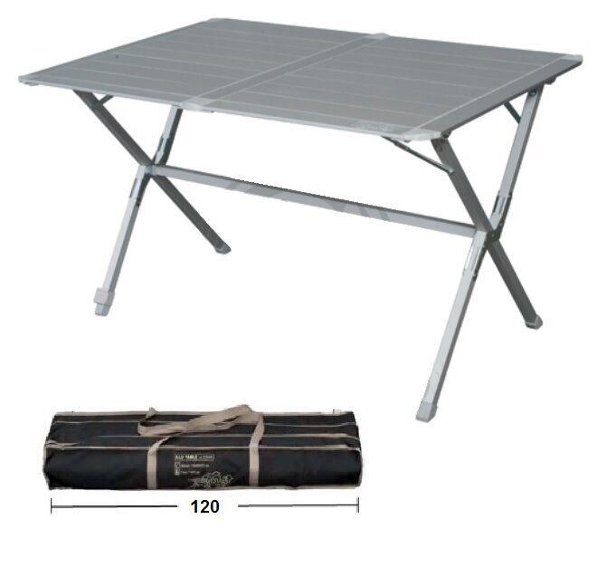 Tavolo alluminio campeggio Eureka 120x80x72h piano arrotolabile sacca trasporto