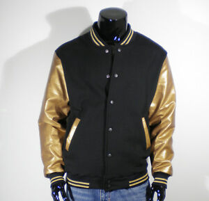 Men's New Gold Faux Leather Baseball Jacket Varsity XS,S,M,L ...