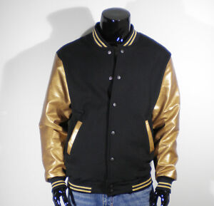 Men's New Gold Faux Leather Baseball Jacket Varsity XS,S,M,L,XL ...