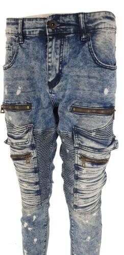 Mens Slim Fit Designer Zipped Denim Stretch Trousers Pants Distressed Biker Jean
