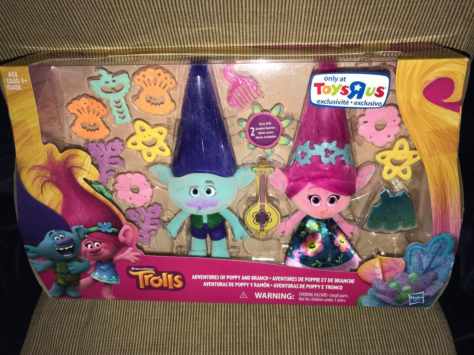 New 2017 2017 2017 Toys R Us Exc Dreamworks Trolls Adventures Of Poppy & Branch Dolls Acc 418bf5
