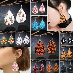 Halloween-Women-Teardrop-Leather-Hook-Earrings-Ear-Drop-Dangle-Jewelry-Christmas