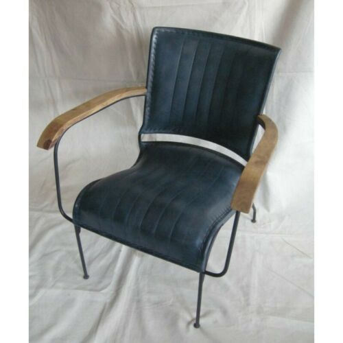Genuine Blue Handmade Leather Chair Industrial Retro Vintage Style Seat