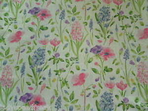 Sanderson Curtain Fabric Spring Flowers 3 45m Pink Blue Floral