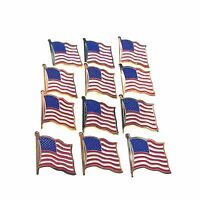 12 Gold Plated American Flag Pins United States Usa Hat Tie Lap... Free Shipping