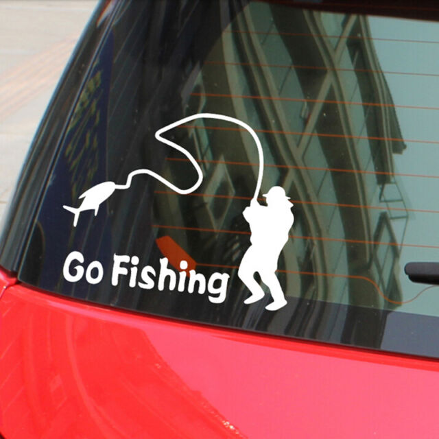 Car Stickers White Go Fishing Sticker Reflective Tape Waterproof Car Decals A,AU