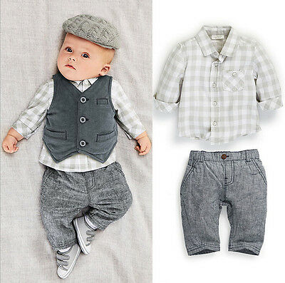 3Pcs Grey Gentleman Toddler Boy Newborn Baby Waistcoat+Pants+Shirt Clothes Suit