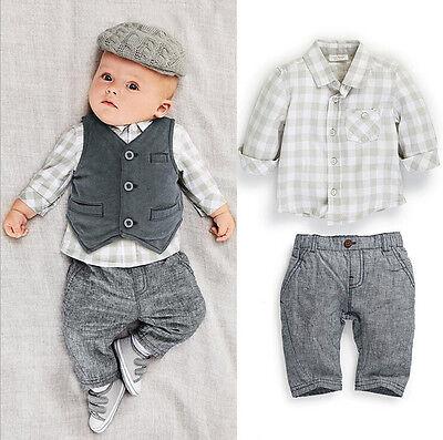 Grey Gentleman Boy Newborn Baby Waistcoat Pants Shirts Clothes Suits Warmer