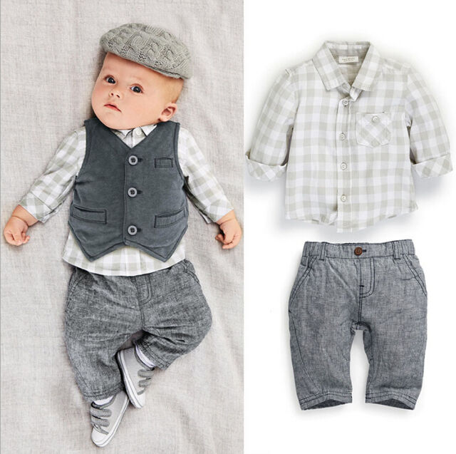 Grey Gentleman Boy Newborn Baby Waistcoat Pants Shirts Clothes Suits Warmer