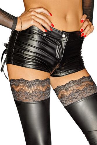 NOIR HANDMADE SELFISH SHORTS hot pants gothic clubwear schwarz wetlook zwei wege