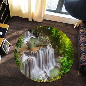 3D-Arbre-Vert-River-014-Etage-Antiderapant-Natte-Rond-Elegant-Tapis-FR-Summer