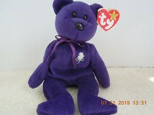 Ty Original Bear Princess Diana 1997 Retired Beanie Baby Purple Rare Ebay