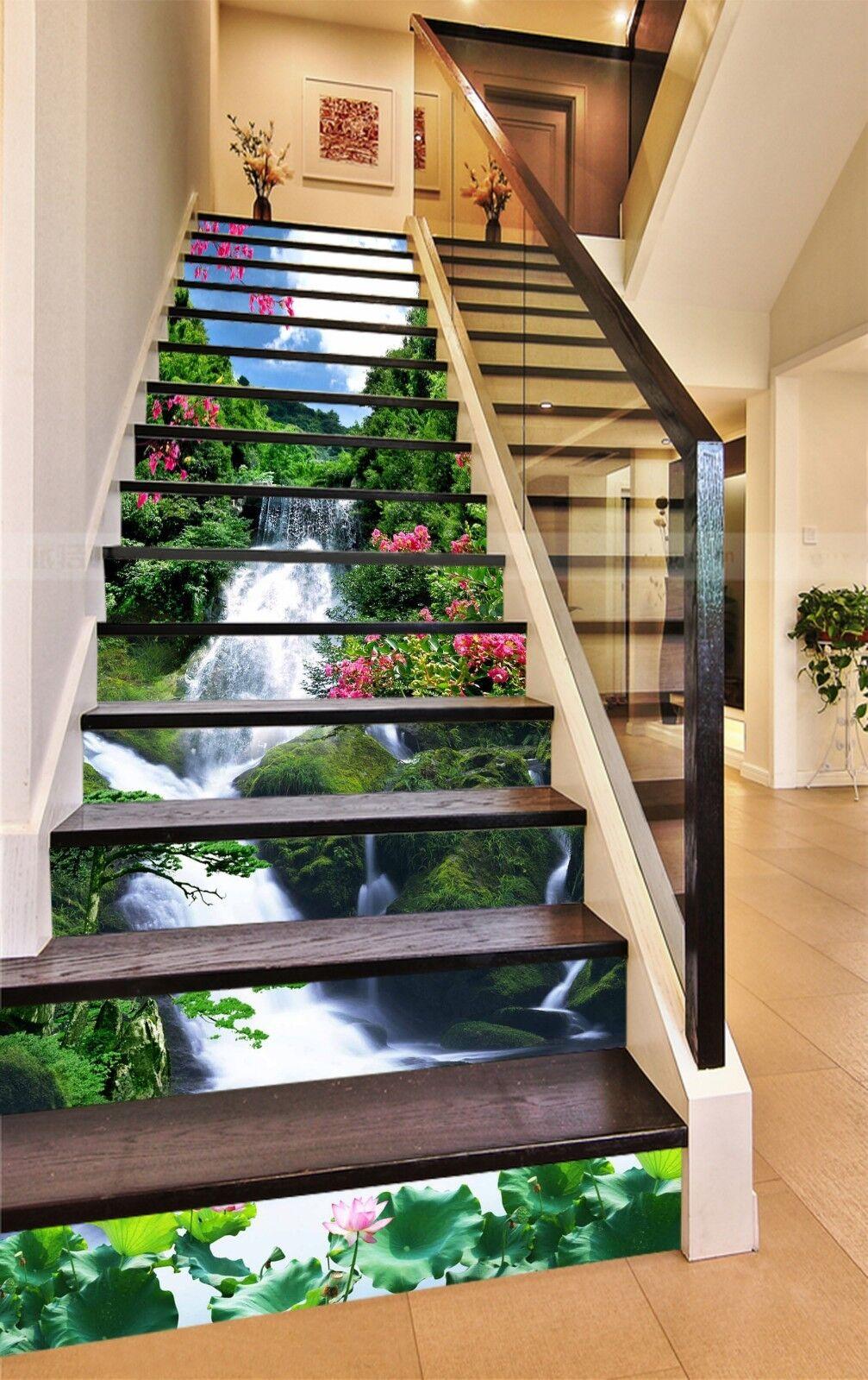 3D Fluss Blaumen 281 Stair Risers Dekoration Fototapete Vinyl Aufkleber Tapete DE