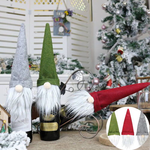 Christmas Gonk  Dinner Table Decor Wine Bottle Cover Bag Santa Xmas Party Gonk