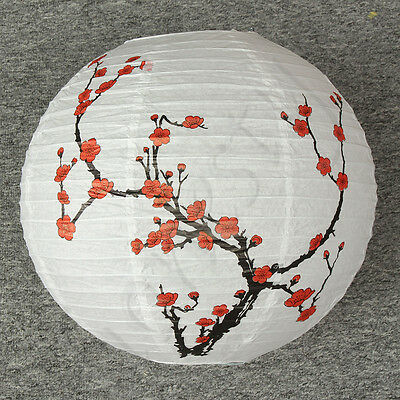 Lamp Shade Paper Lantern Light Chinese Bamboo Plum Blossom Round Oriental Decor
