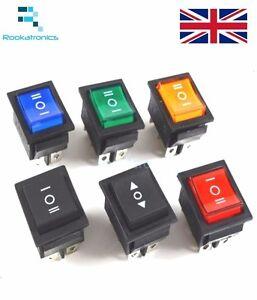 Rectangular-Latching-Rocker-Switch-3-Position-6-Pins-Black-Red-Green-Blue-Yellow