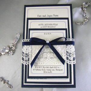 Image Is Loading Navy Midnight Blue Lace Handmade Wedding Invitation Set