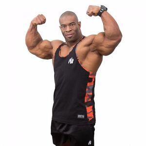 Gorilla Wear Sacramento Camo Mesh Tank Top Black//Red Bodybuilding
