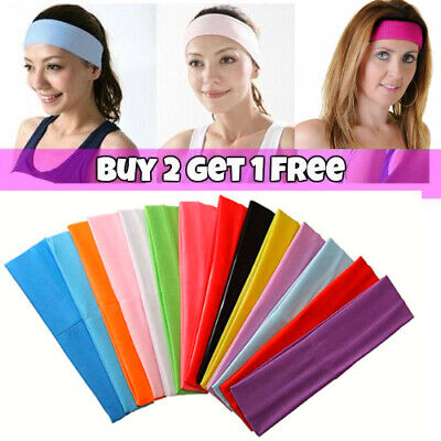 Hair Accessories Plain Coloured Stretch Headband Sports Bandeaux Kylie Band