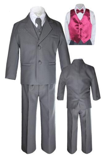 7pc Boys Toddler Kids Formal Wedding Tuxedo Dark Gray Suits Vest Bow Tie Set S-7