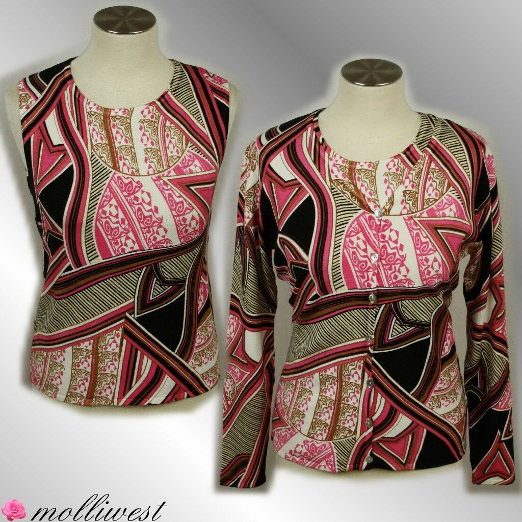 Ladies Twinset from Top + Cardigan Abstract Pattern Viscose Imagini