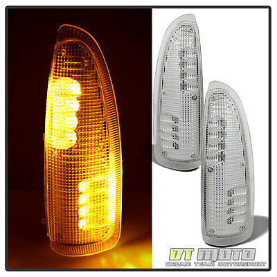Fits 2003-2007 Ford Super Duty Side Mirror Turn Signal Amber LED Lights Pair L+R