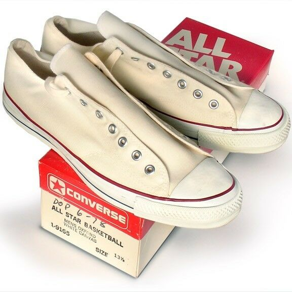 Vintage  A-MADE Converse All Star Chuck Taylor 13.5 white NEVER OPENED shoes