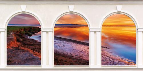 Sticker trompe l/'oeil 3 Arches Couché de soleil N°2