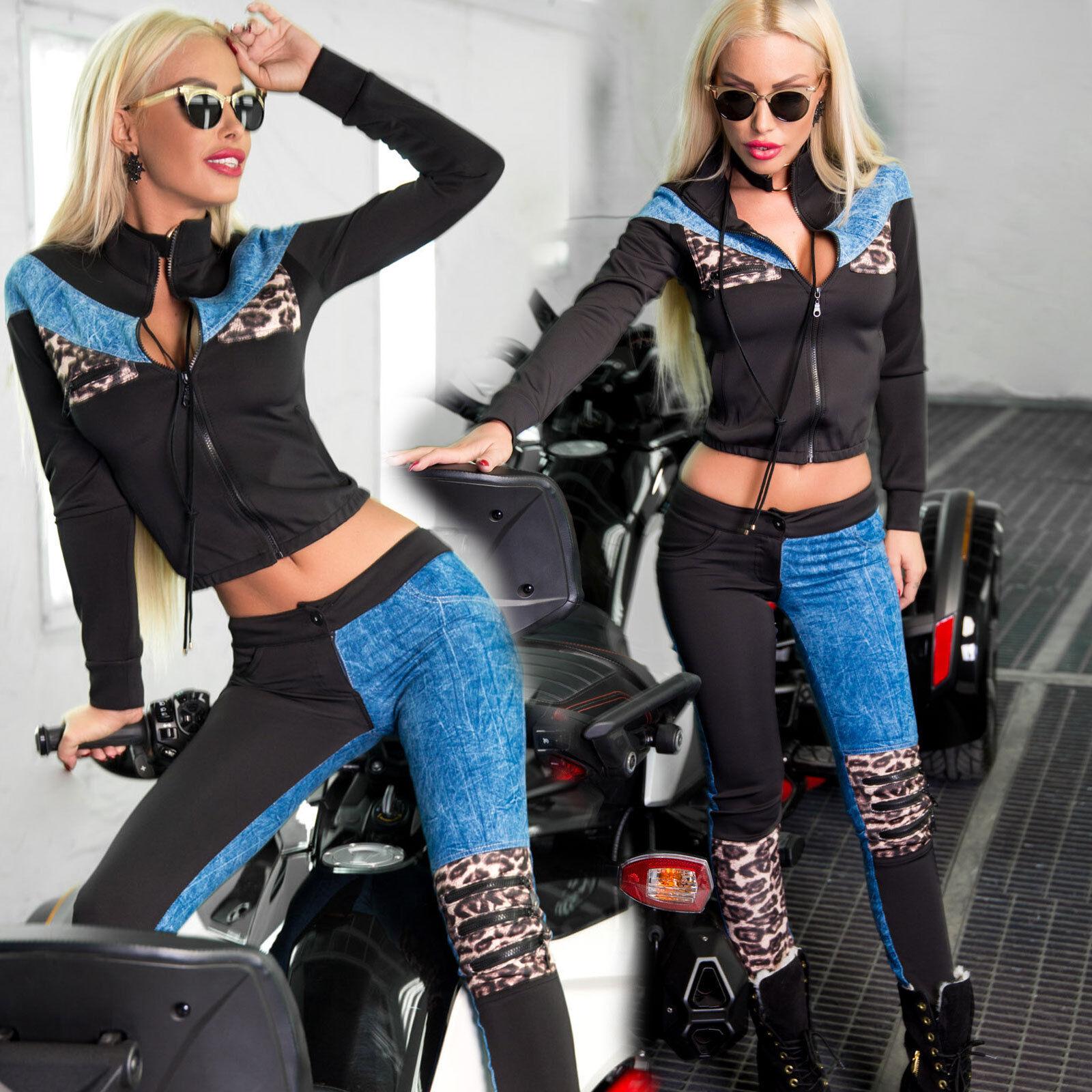 Jeans Ocassion 2-Divisorio Giacca + Hüfthose Hüfthose Hüfthose Tubi Pantaloni sericina tempo TUTA LEOPRINT XS S M d49824