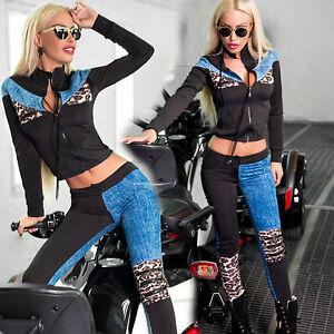 Ocassion-Damen-2-Teiler-Leo-Jacke-Huefthose-Roehrenhose-Jeans-Freitzeitanzug