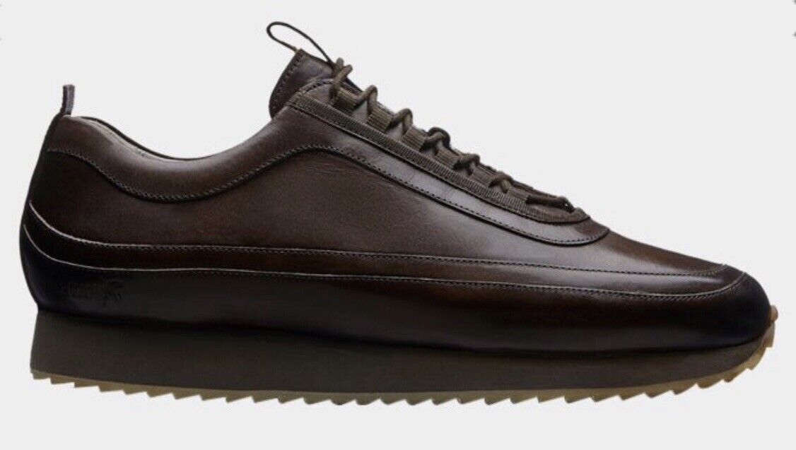 Grenson Mens Dark Brown Leather Lace Up 12 Trainers Uk Size 6F