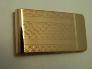 Mens Money Clip Groomsman Gift Solid Brass18k Gold Plated ,Made In USA,Swirls
