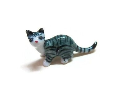 Grey//White Striped Cat and Mouse Dollhouse Miniature Ceramic Animal Figurines