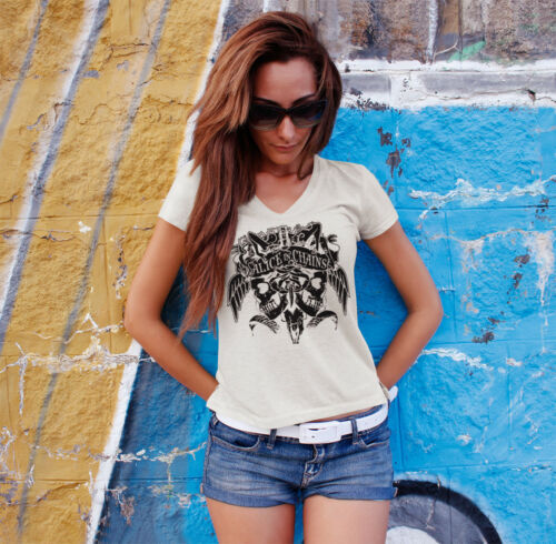 ALICE IN CHAINS Skulls Women White V-Neck T-shirt Grunge Band Tee Shirt