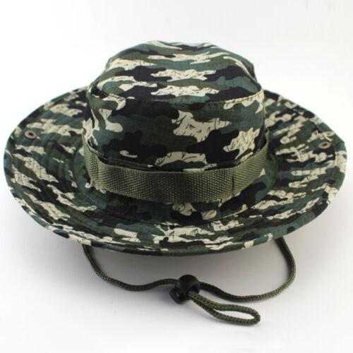Men Bucket Hat Summer Hiking Fishing Hunting Military Outdoor Wide Brim Camo Cap
